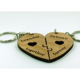 dubbel hart sleutelhanger together forever