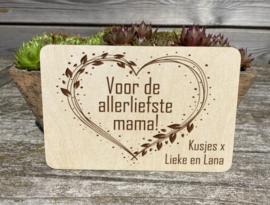 houten wenskaart mama/moederdag