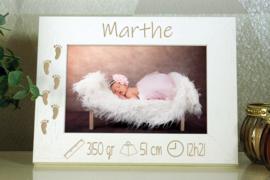 witte fotokader 10x15 geboorte