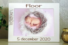 gepersonaliseerde witte fotokader 13x18 geboorte