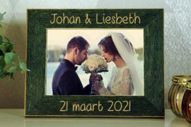 gepersonaliseerde groene fotokader 10x15 huwelijk