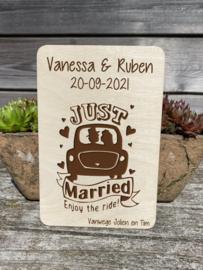 houten wenskaart huwelijk