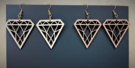 houten oorbellen diamant