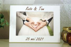 gepersonaliseerde witte fotokader 10x15  huwelijk