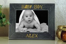 donker grijze houten fotokader  10x15 geboorte