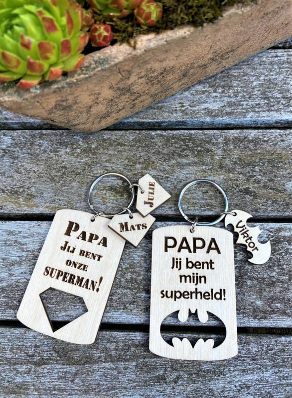 houten gepersonaliseerde sleutelhanger papa/vaderdag