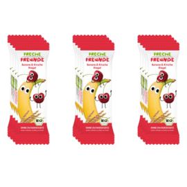 Freche Freunde Gedroogd Fruit Tussendoortje of fruitreep - 12 stuks - Smaak banaan en kersen - fruitrepen geschikt vanaf 12 maanden