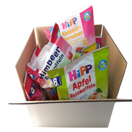 Hipp Biologischie Rijstwafel en granen tussendoortjes - 6 zakjes - bundel mix geschikt vanaf 1 jaar