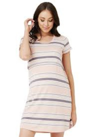 RIPE TAYLER NURSING NIGHTIE CHALK PINK STRIPE