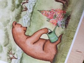 Beer en muis tuinieren; grote kaart