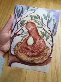 Vogel op nest kaart A5