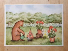 Poster Beer en muis tuinieren