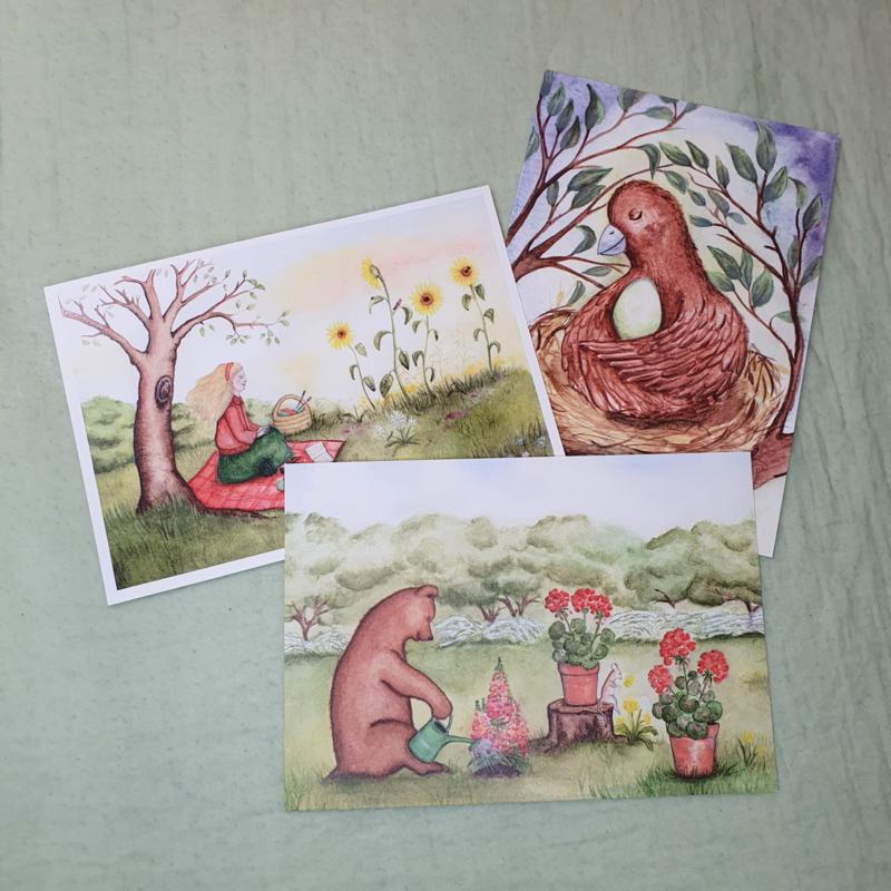 Set  3 kaarten illustraties