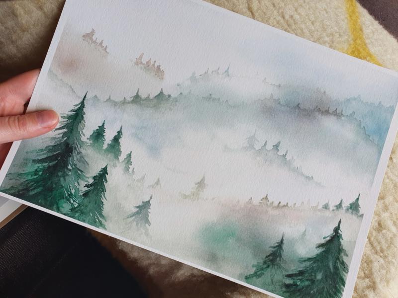 Bos met mist A4(21x29,7cm)