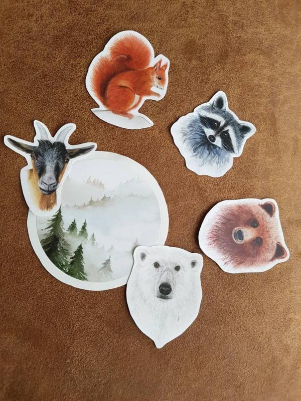 Stickerset dieren en boslandschap