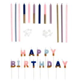 Wilton   Flower candle Happy Birthday (set/25)