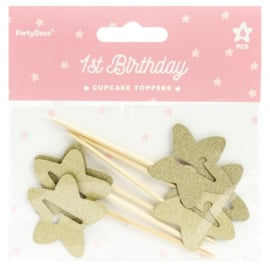 Partydeco | cupcake topper 1st birthday gold (set/6)