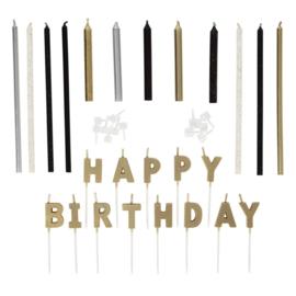 Wilton   Flower metallic Happy Birthday (set/25)