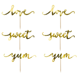 PartyDeco | cupcake topper Love/Sweet/Yum goud (set/6)