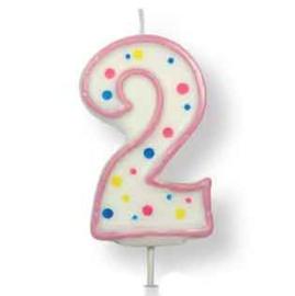 PME   Verjaardagskaars Roze Cijfer 2