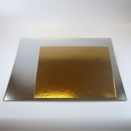 FunCakes   20cm Taartkartons Zilver/Goud vierkant pk/3
