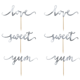 PartyDeco | cupcake topper Love/Sweet/Yum Zilver (set/6)