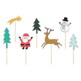PartyDeco | Cake toppers Merry Xmas (set/7)