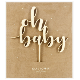 PartyDeco | Houten cake topper Oh Baby