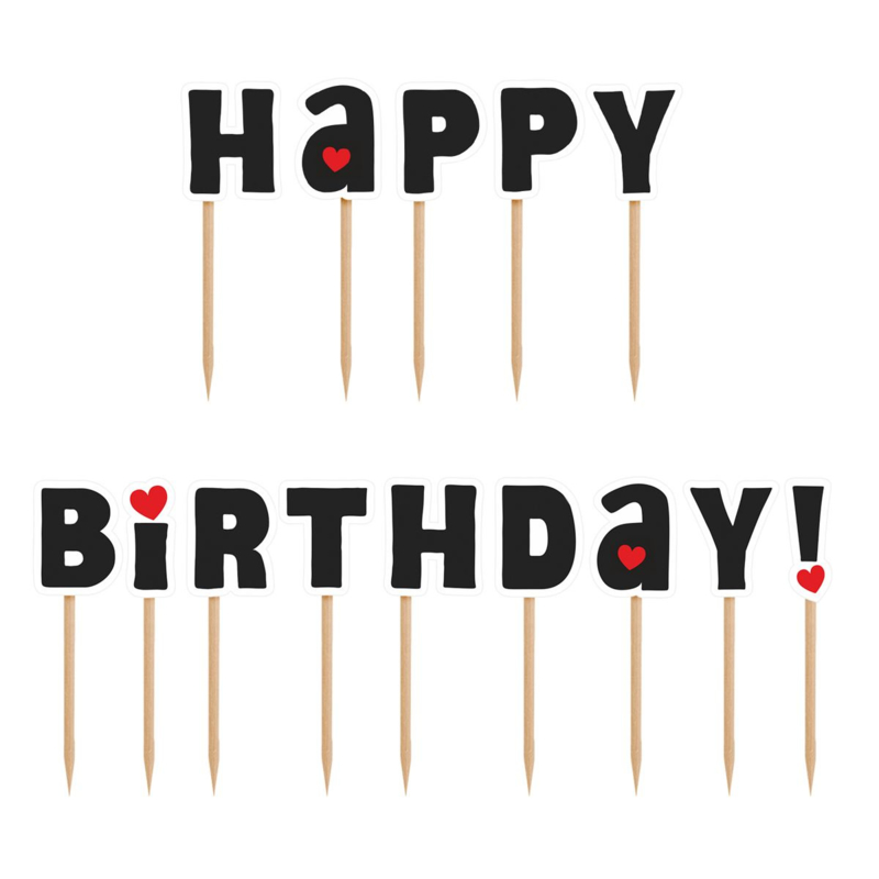 PartyDeco   Cake/cupcake toppers Happy birthday (set/14)
