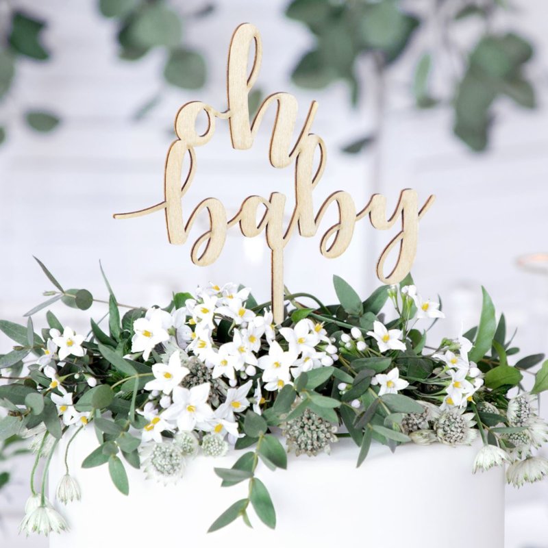 PartyDeco   Houten cake topper Oh Baby