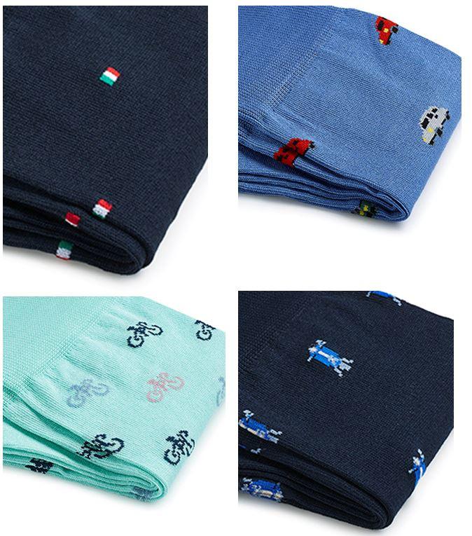 Sokken met Italiaanse vlag, Fiat500, Vespa, koffie, fiets of handgebaar