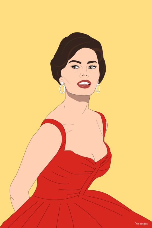 Sophia Loren illustratie op doek, aluminium, HD metal