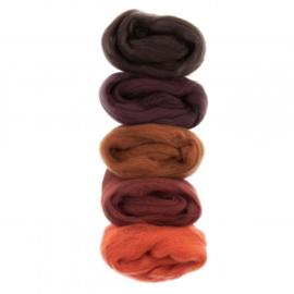 Kleurenset Europese merino 8 donker bruin