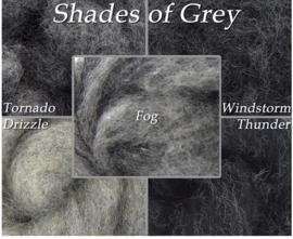 5 Monster grijstinten Corriedale naturel a 5 gram per kleur
