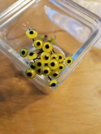 Glasoogjes per paar 7 mm geel