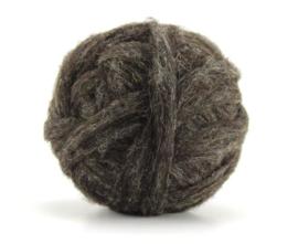 Shetland donker  wol in vlies in lontgetrokken per 50 gram