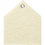 Hanger / label  6.5 * 7.5  cm 3 mm dik - viltlook off-white huis