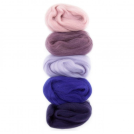 Kleurenset Europese merino 4 purple pink