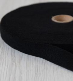 Naaldvlies band 2.5 cm breed - 5 m lang dark - zwart