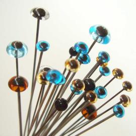 Glasoogjes per paar 7 mm bruin