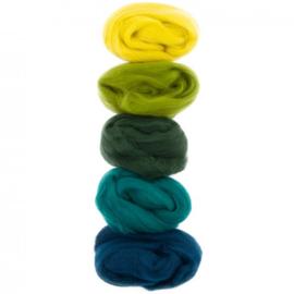 Kleurenset Europese merino 7 groen