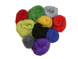 27 tinten wol in vlies 21 mic. 20 gram per kleur