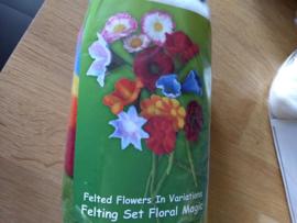 Nieuw pakketje bloemen vilten (engelse beschrijving) per pakket