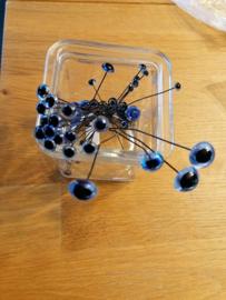 Glasoogjes per paar 9  mm blauw