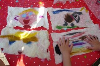 Kinderfeestje natvilten schilderijtje