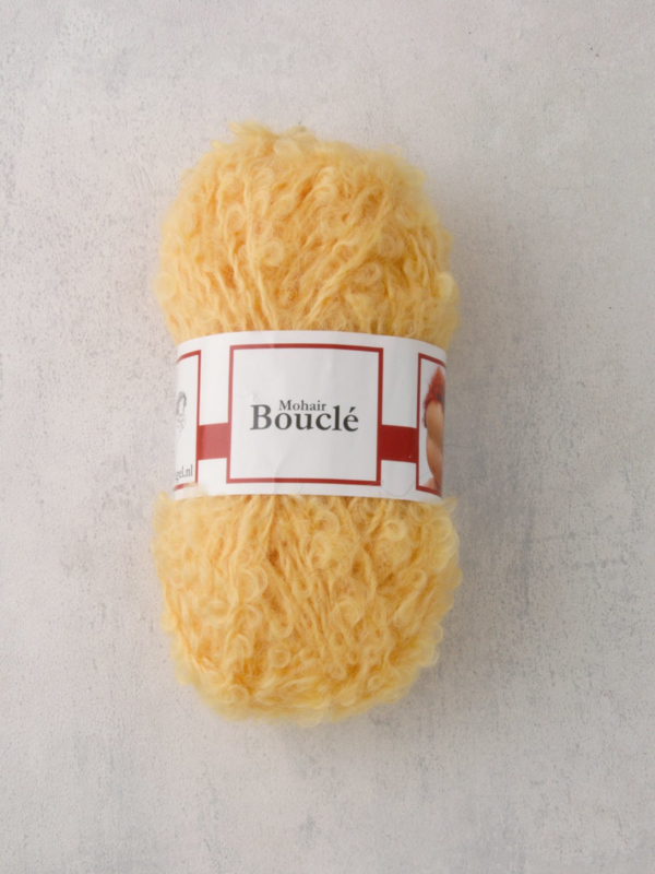 Poppenhaar mohair-boucle - per 10 gram geel
