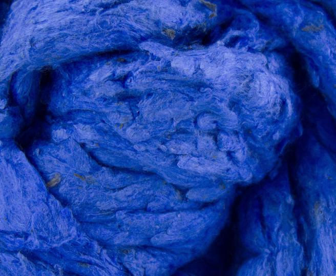 Tussahzijde dons per 10 gram blauw