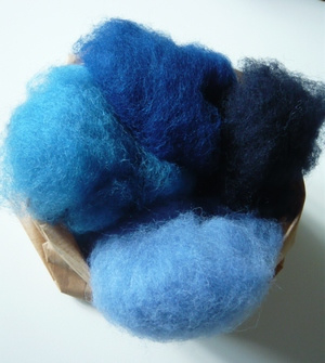 Kleurenset wol in vlies blauw tinten 50 gram