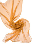 Chiffonzijde sjaal 230  x 55 cm okergeel 25+