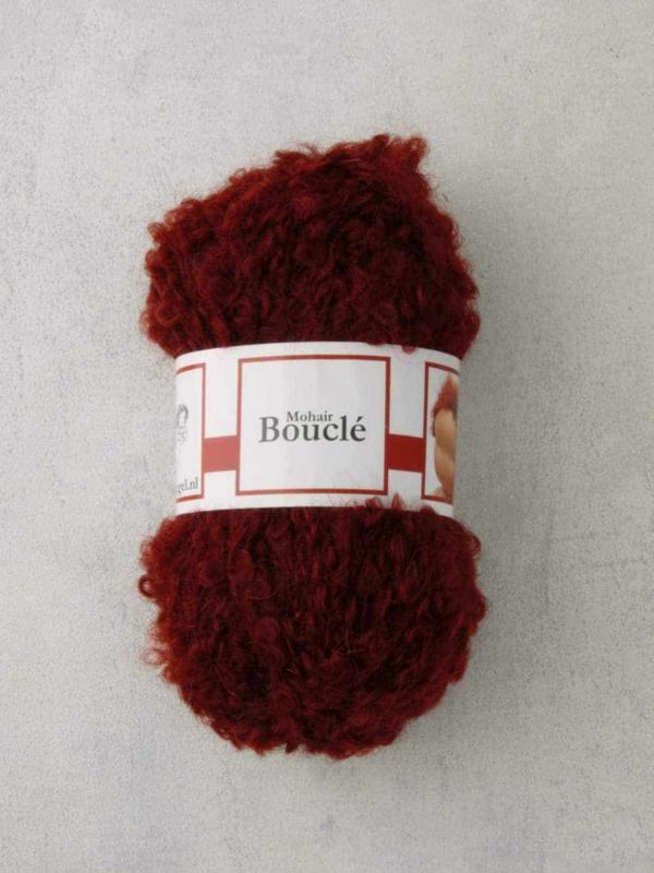 Poppenhaar mohair-boucle - per 10 gram roodbruin